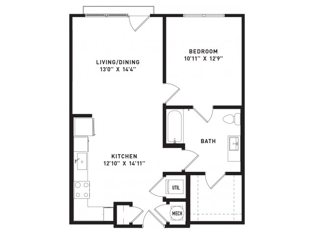 755 sq. ft. A9 floor plan