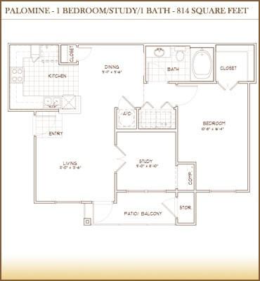 814 sq. ft. PALOMINO floor plan