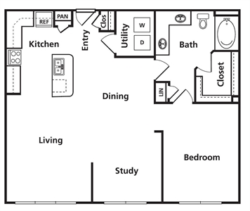 988 sq. ft. C1 floor plan