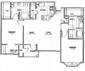 1,115 sq. ft. B2 floor plan