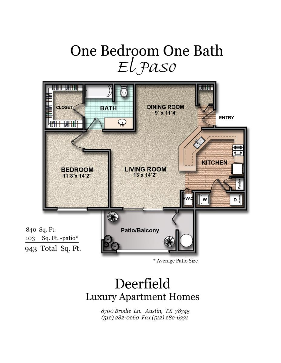 840 sq. ft. El Paso floor plan