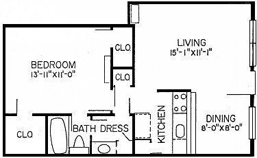 619 sq. ft. A3 floor plan