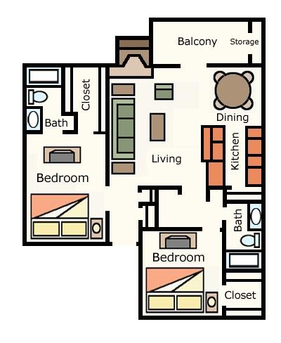 1,012 sq. ft. 2A20 floor plan