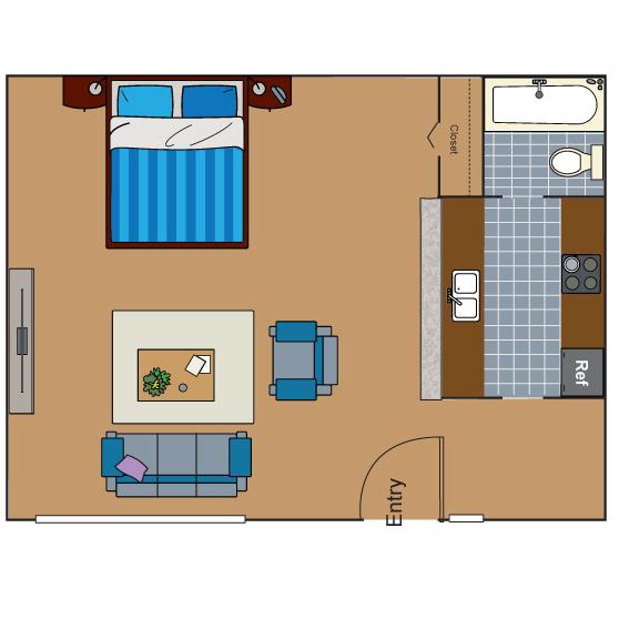 367 sq. ft. to 500 sq. ft. EFF floor plan