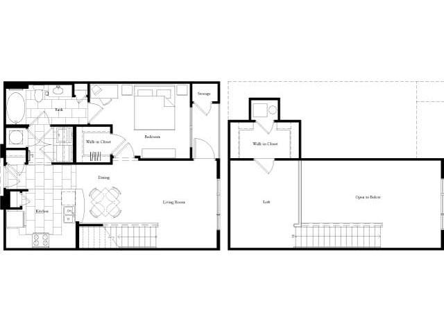 897 sq. ft. floor plan
