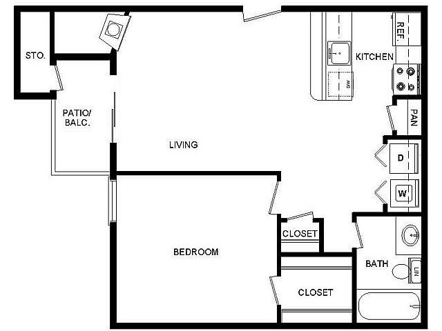 564 sq. ft. II/E floor plan