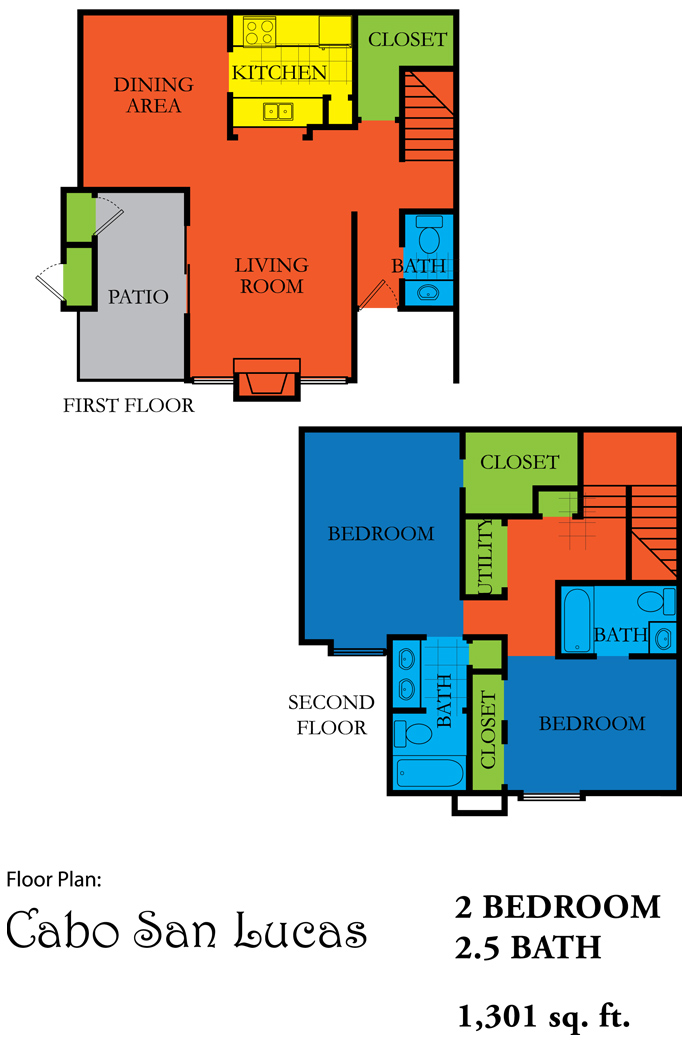 1,301 sq. ft. CABO SAN LUCAS floor plan
