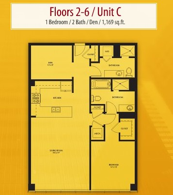 1,169 sq. ft. C floor plan