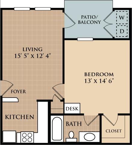 597 sq. ft. A1 floor plan