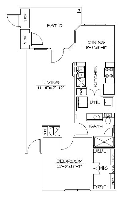 770 sq. ft. 60% floor plan