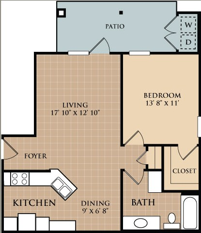 735 sq. ft. Mesquite floor plan