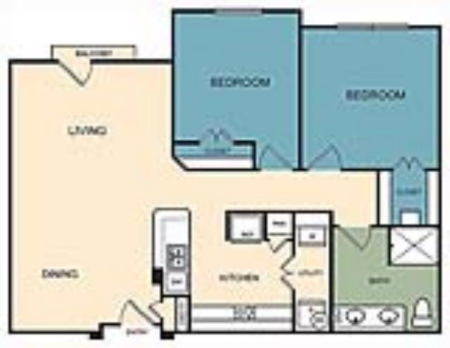 980 sq. ft. Golden floor plan