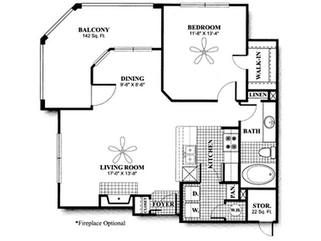 785 sq. ft. to 905 sq. ft. A3 floor plan
