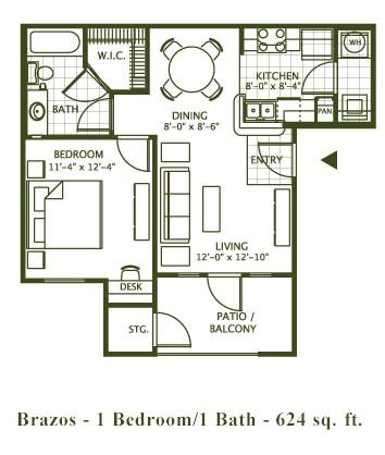 624 sq. ft. BRAZOS floor plan
