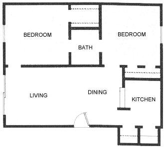 800 sq. ft. B3 floor plan