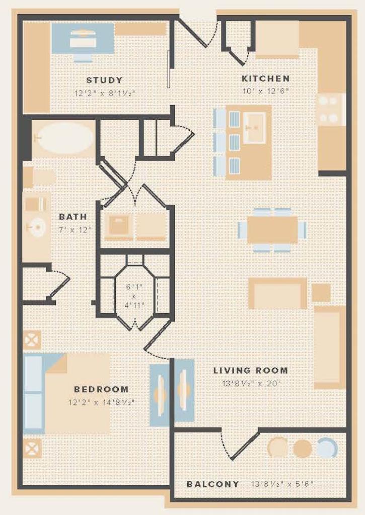 900 sq. ft. A4 floor plan