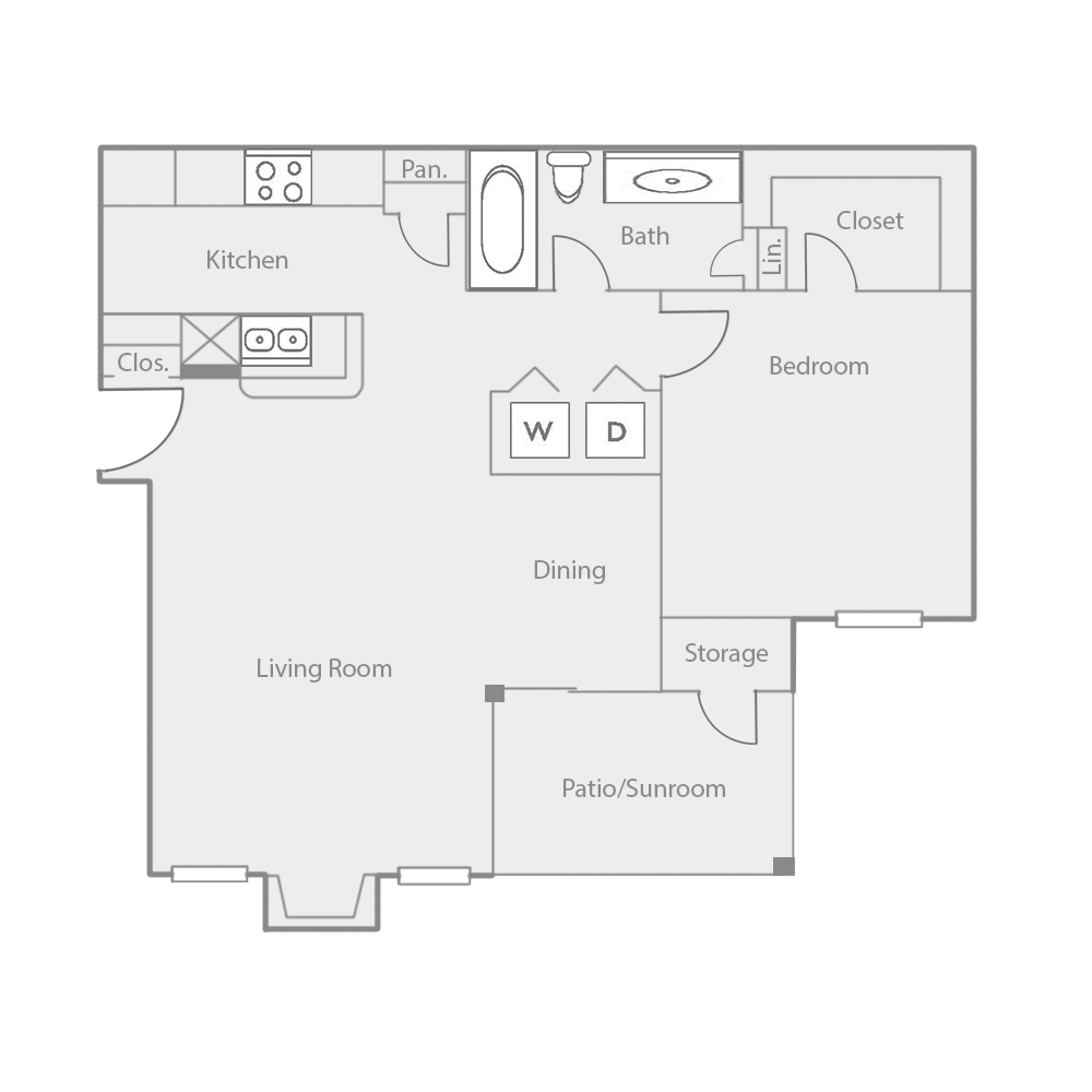 813 sq. ft. A6 floor plan