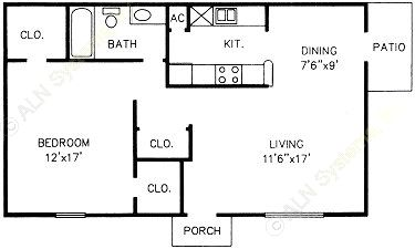 702 sq. ft. A floor plan