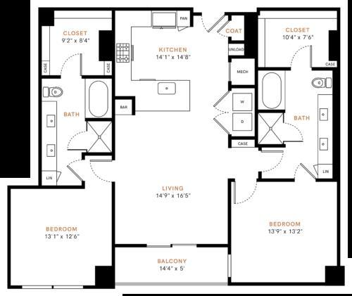 1,401 sq. ft. B3 floor plan