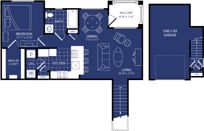 785 sq. ft. Blazer floor plan