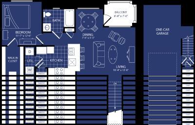 785 sq. ft. Blazer floor plan