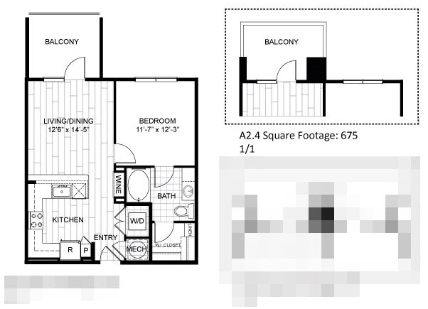 675 sq. ft. A2.4 floor plan
