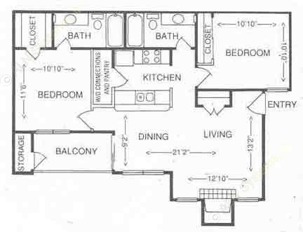 875 sq. ft. 2B floor plan