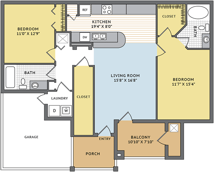 1,083 sq. ft. B2G floor plan