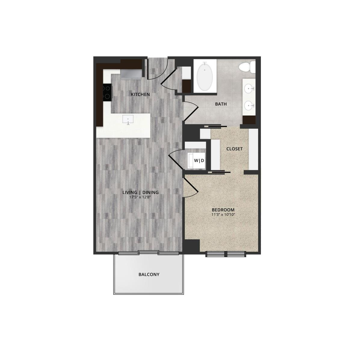 737 sq. ft. B1 floor plan