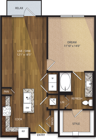 806 sq. ft. A3 floor plan
