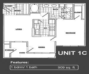 909 sq. ft. A2 floor plan