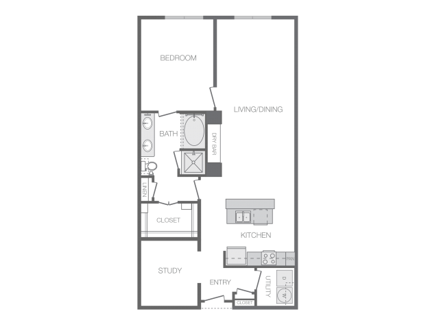 1,137 sq. ft. L floor plan