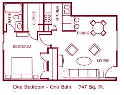 747 sq. ft. E floor plan