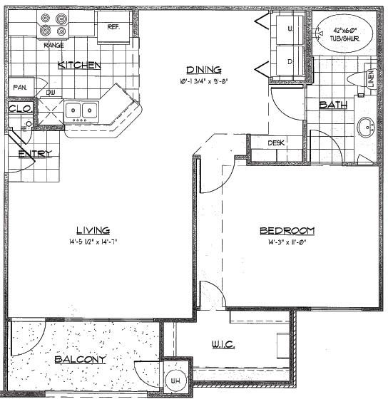 770 sq. ft. LAREDO/60% floor plan
