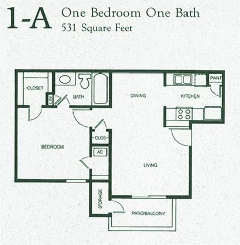 531 sq. ft. 1A floor plan