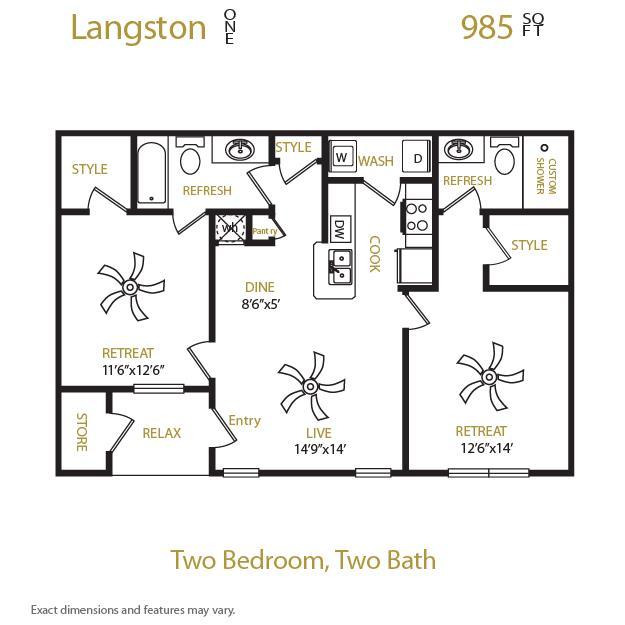 985 sq. ft. Langston 1 floor plan