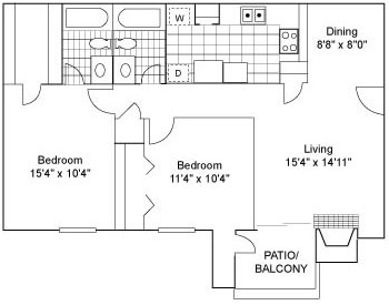 1,000 sq. ft. B1A floor plan