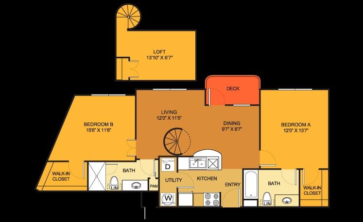 1,039 sq. ft. B12 Loft floor plan