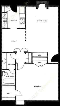 711 sq. ft. A-1 floor plan