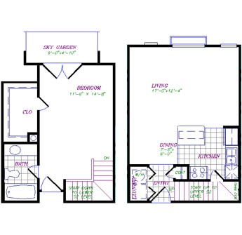 798 sq. ft. to 828 sq. ft. 1x1 Dual Level floor plan