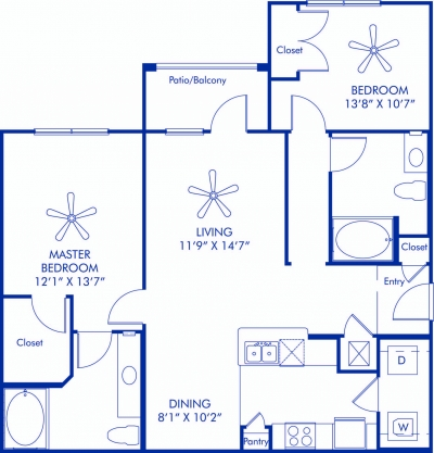 1,103 sq. ft. Brittany floor plan