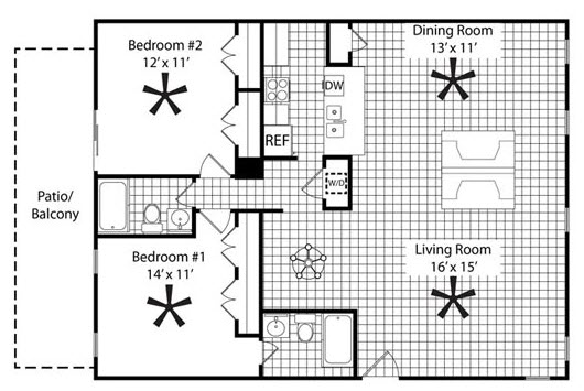 1,155 sq. ft. B4 floor plan