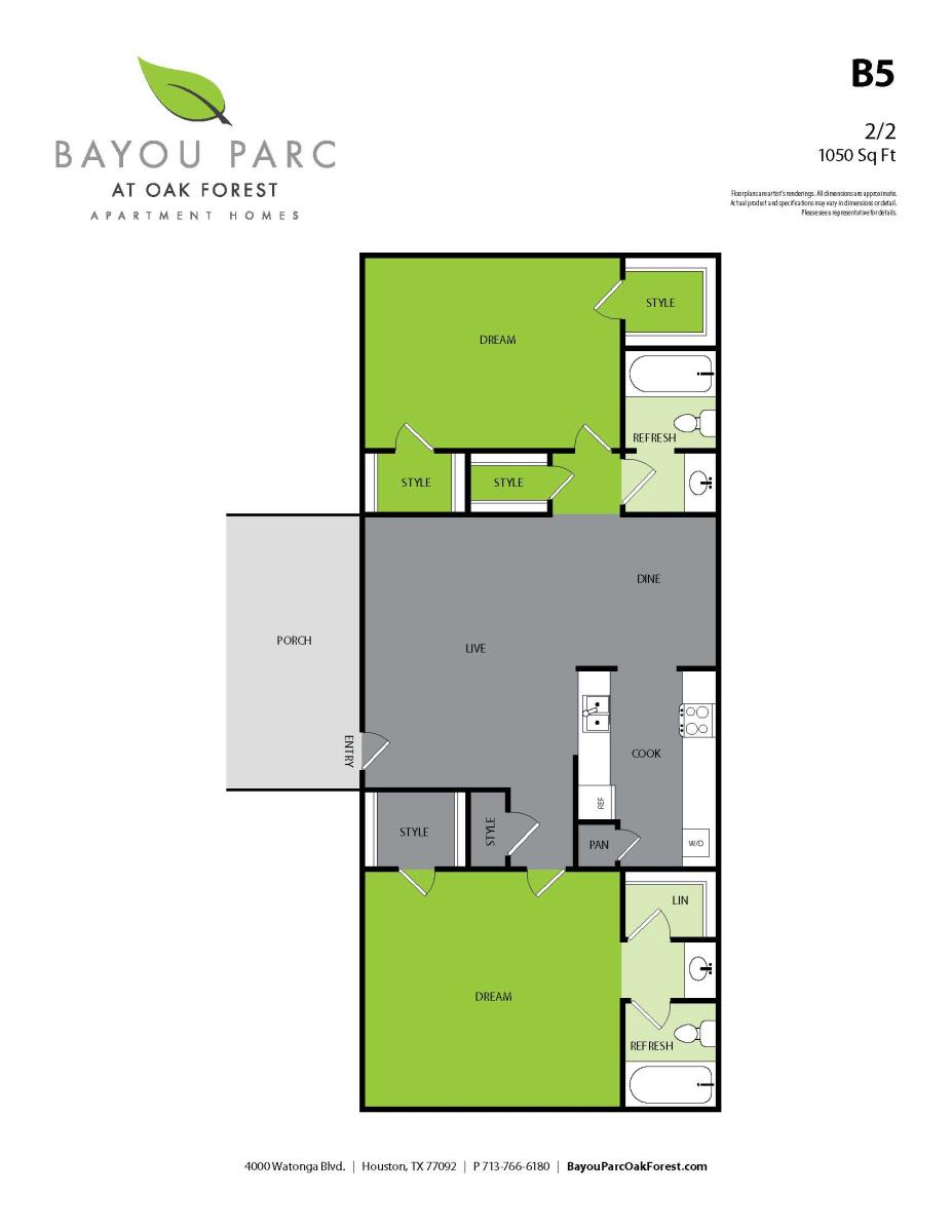 1,050 sq. ft. B5 floor plan