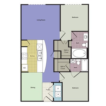 1,224 sq. ft. to 1,255 sq. ft. Stirling floor plan