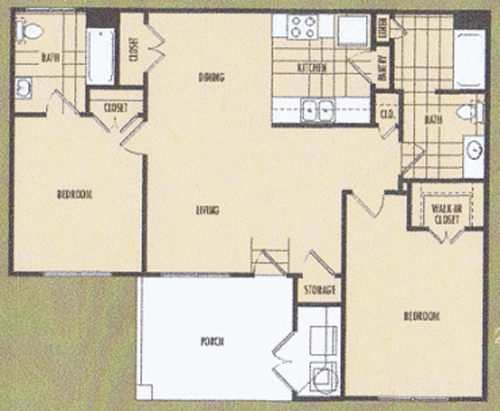 1,079 sq. ft. Flora 60% floor plan