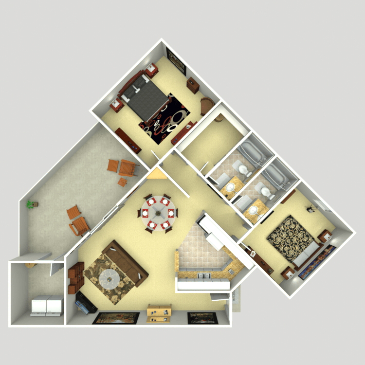 1,079 sq. ft. 2C floor plan