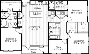 1,644 sq. ft. to 1,658 sq. ft. C1 floor plan