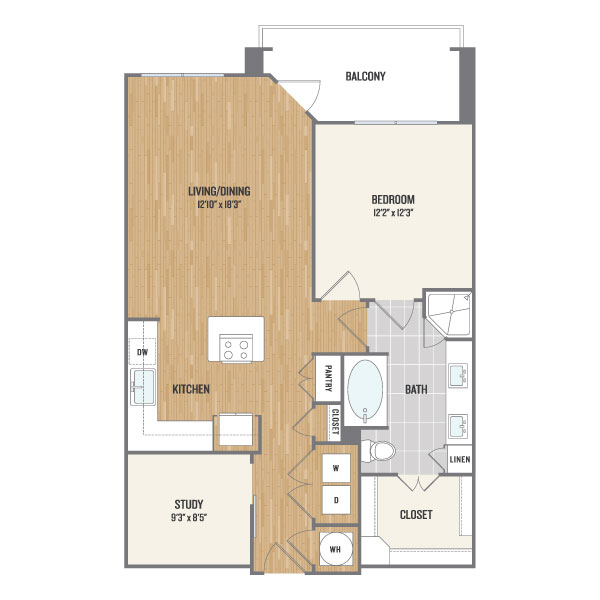 906 sq. ft. A8 floor plan