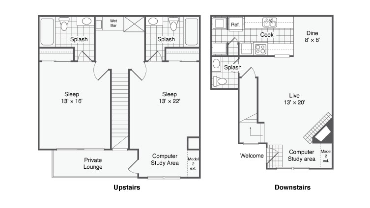 1,350 sq. ft. Parisian floor plan