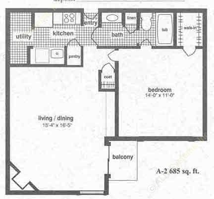 685 sq. ft. A-2 floor plan